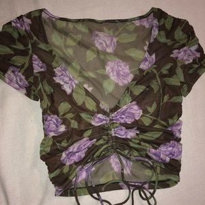 UO Out From Under Floral Mesh Ruched Top